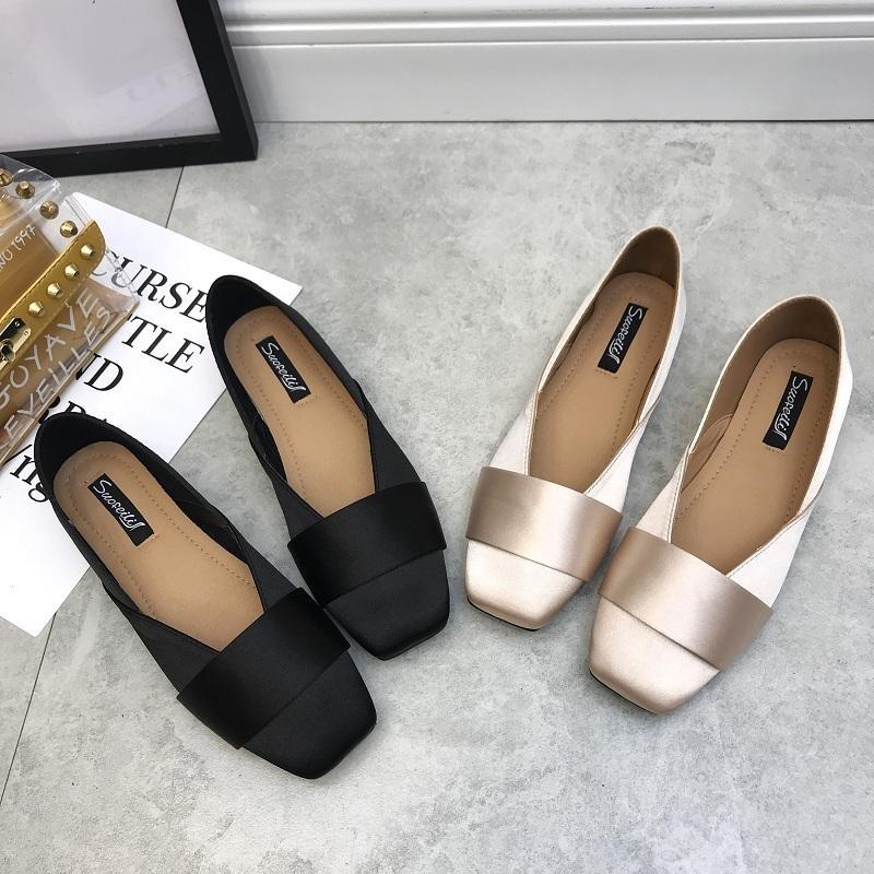 Горячая распродажа-2019 ветер нежная женщина осень Baitao шелковая лапша фея Asakuchi обувь квадратный с плоским дном одной обуви