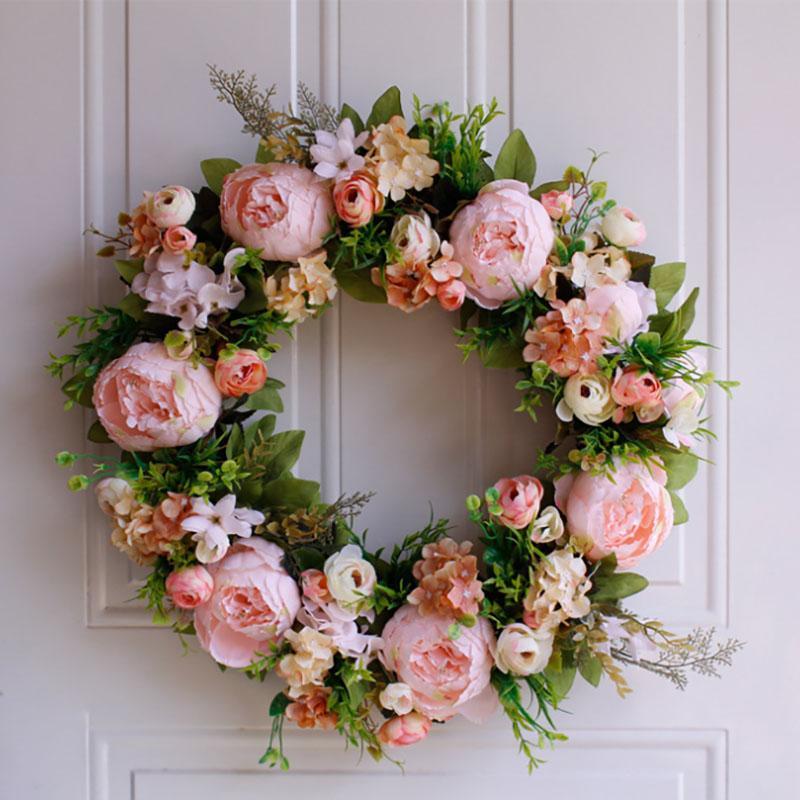 Sıcak Satış 50 cm Yüksek Kalite Pembe Gül Yapay Çiçek Çelenk İçin Kapı Duvar Pencere Noel Ev Düğün Bahçe Dekorasyon