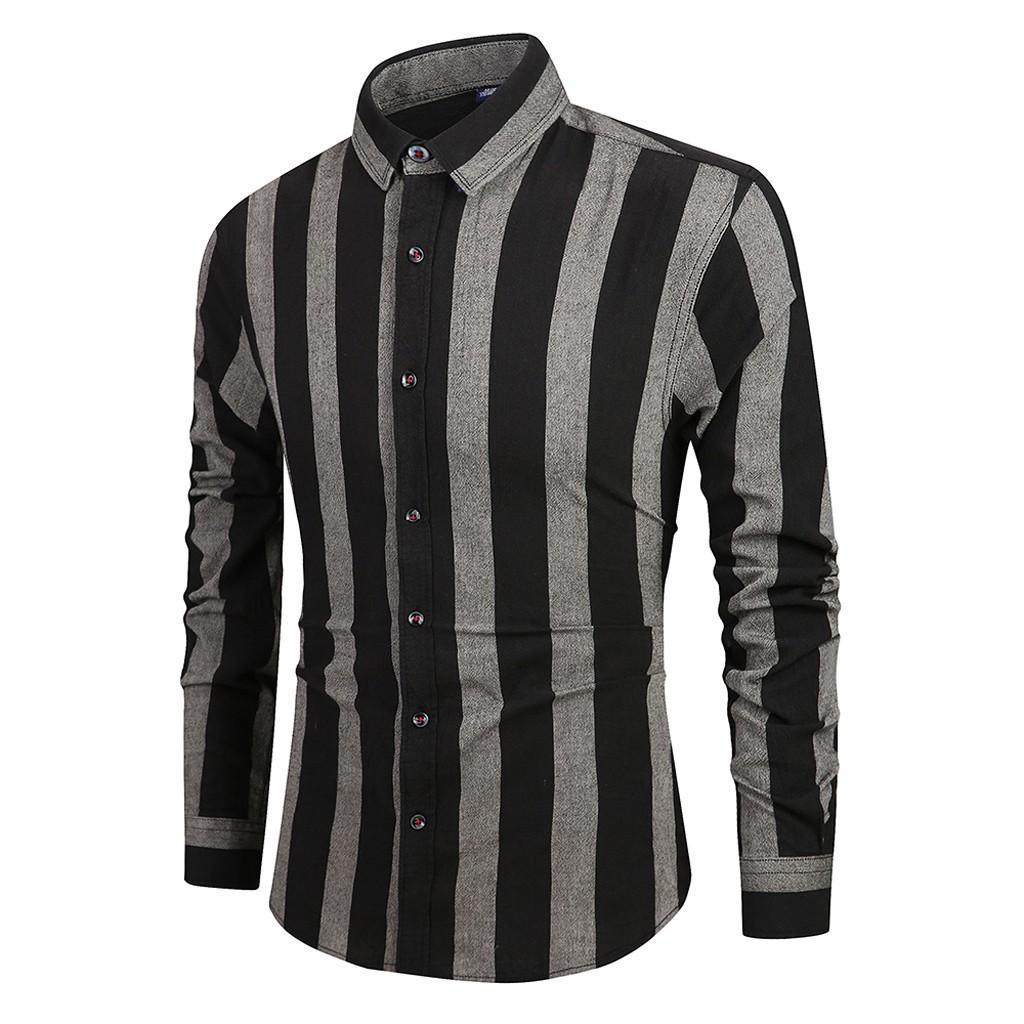 보그 남성 긴 소매는 버튼 턴 다운 칼라 캐주얼 탑 블라우스 셔츠 대형 스트라이프 레이어링 심플하고 세련된 셔츠 회화