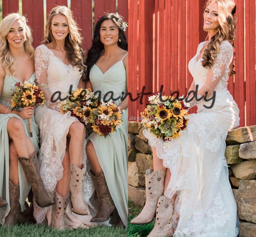Vestidos de casamento do país ocidental vintage com manga longa 2019 V-pescoço em v laço applique vaqueira bota sereia vestido de casamento nupcial ao ar livre