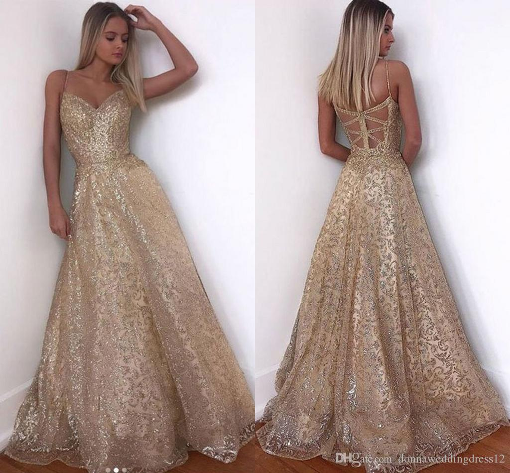 Compre El Oro Vestido De Noche Largo De La Chispa 8 Abendkleider Prom  Party Nuevo V Cuello De Las Mujeres Elegantes Correas De Lentejuelas Una