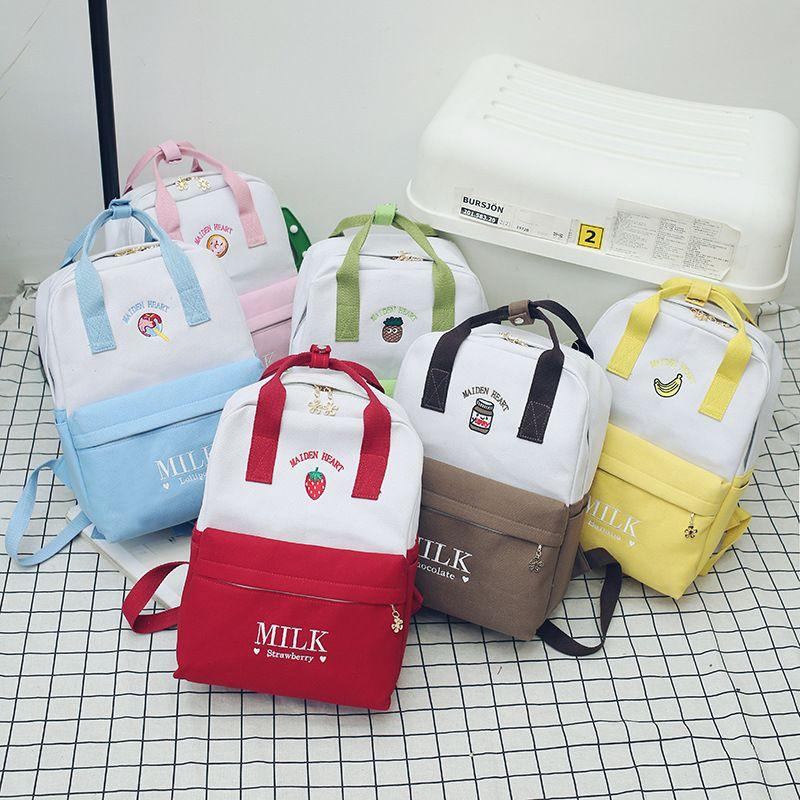 Moda 2019 yeni varış Sevimli ve komik kişilik öğrenci bookbag küçük kızlar için küçük taze renk nakış tuval sırt çantası
