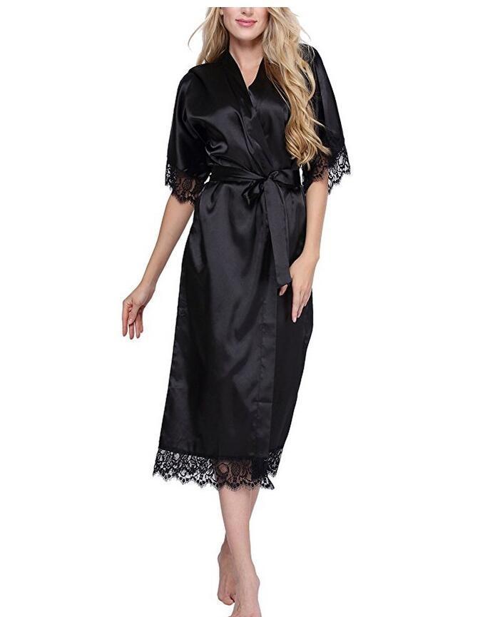 Haute Qualité Noir Femmes Soie Robe sexy Rayonne longue Lingerie de nuit Kimono Yukata Nightgown Plus Size S M L XL XXL XXXL A-050 DT191024