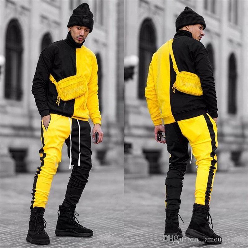 Панелями с длинным рукавом мужские 2 шт. наборы уличная Мужская одежда мужские дизайнерские хип-хоп спортивные костюмы контраст