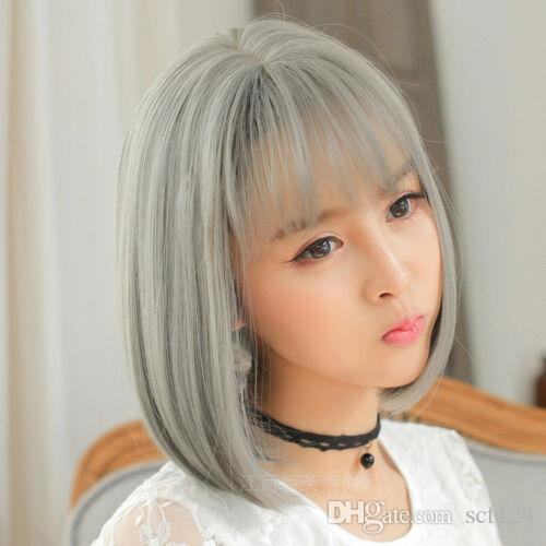 Details about Short Bob Wig Cosplay Lolita Thin Bang Sweet Cute Daily Use Party Women / Girl