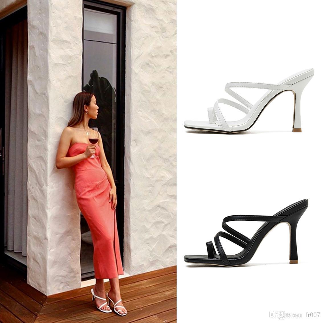 New Luxury Tacchi Alti sandalo in pelle scamosciata mid-heel 9 cm Donne Sandali Del Progettista Degli Alti Talloni di estate Sexy Sandali taglia 35-41