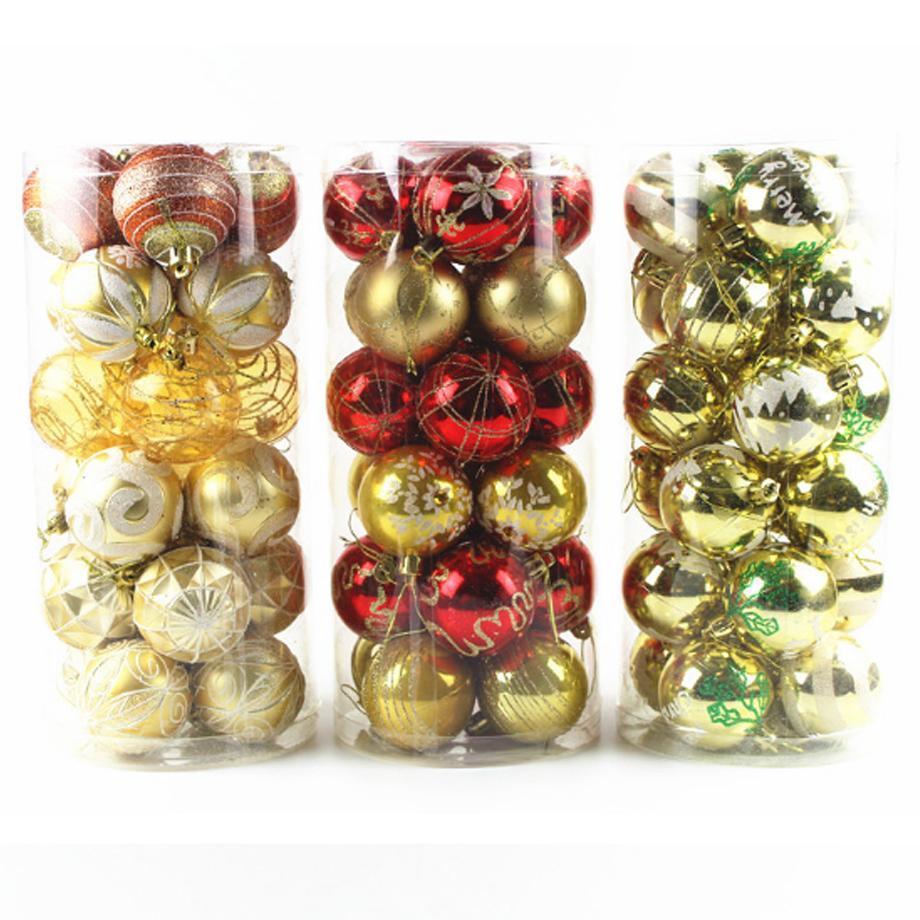 New 6 centímetros pintado bola Wedding Balls Natal Pendant ChristmasTree Party For Ornamento de suspensão da Casa Loja Escritório Escola Xmas Decorations