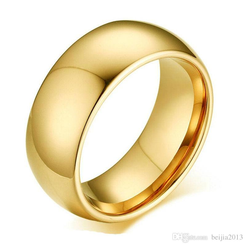 8 mm 2 Colors Gold Plated High Polish Band Finger Ring 316L Stainless Steel Couple Wedding Engagement Rings for Men Valentine Gift
