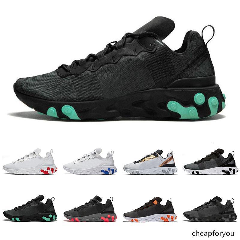 Reagir Elemento homens 55 de alta qualidade mulheres tênis triplo verde branco preto GRAY vermelho real das sapatilhas dos homens de esportes formadores de moda