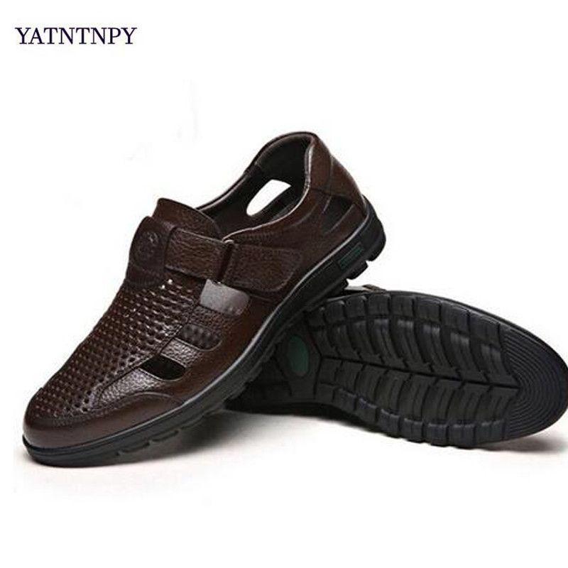 TATNTNPY Yeni Moda Gerçek Deri Erkek Sandalet Roma ayakkabı erkekler Yaz Classics Ayakkabı Erkek Plaj Ayakkabı Siyah
