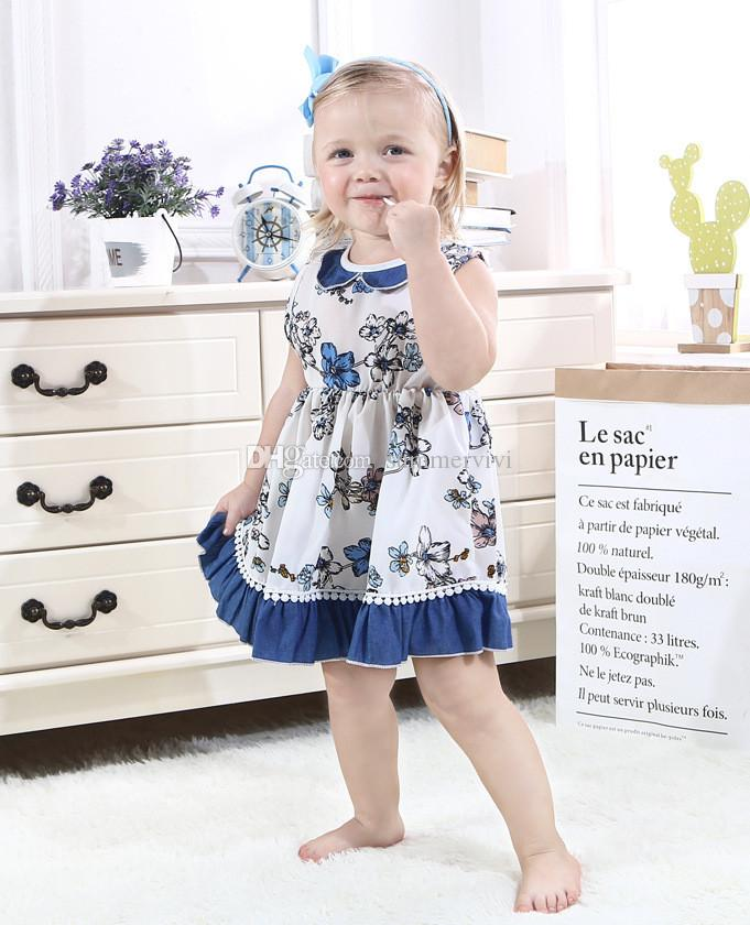 INS 2019 Summer kids dresses baby girls doll collar flowers printed dress children lace falbala vest princess dress baby cotton cloth A01440