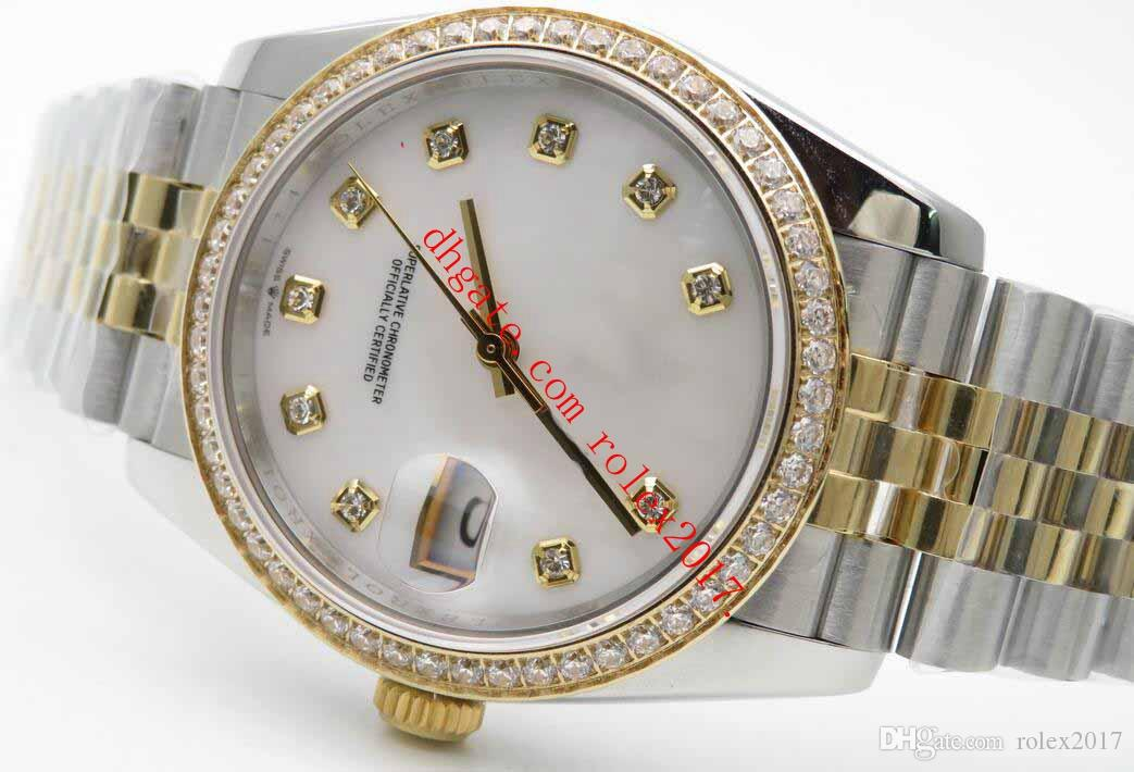 Männer-Produkte Heiße verkaufende Qualität Datejust 36mm Jub Diams Diams BP 2813 Automatikwerk Uhren Weiß Perlmutt Zifferblatt mit Diamant