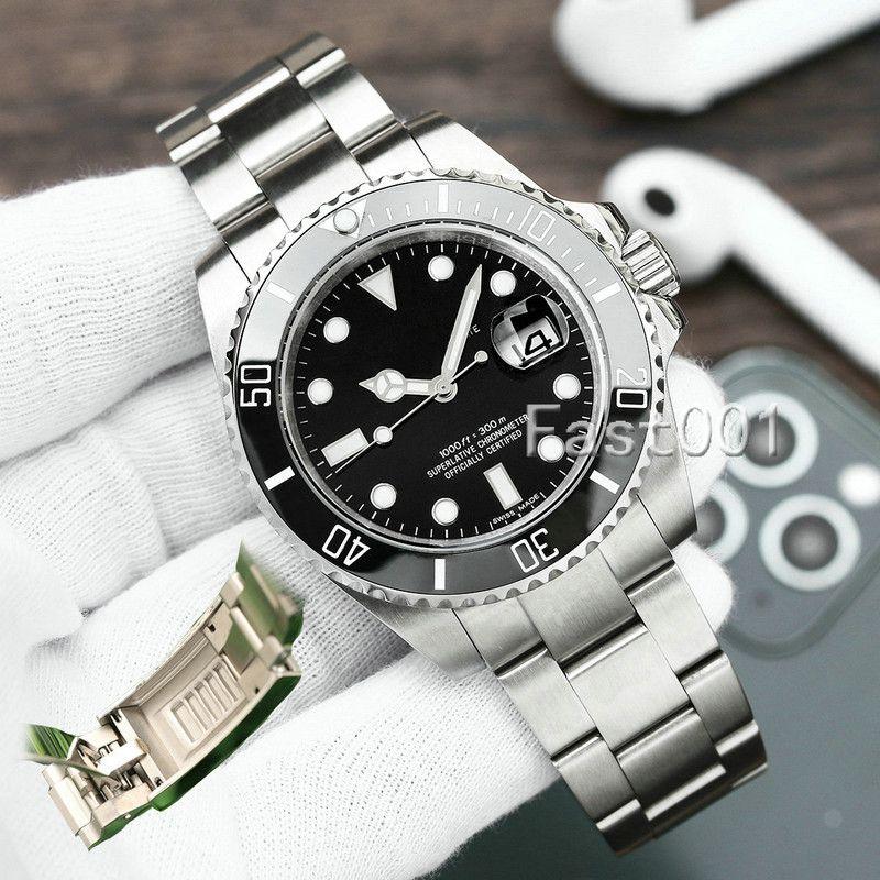 Glide Lock Green Cerâmico Bezel New Mens Mecânica SS 2813 Movimento Automático Assista Designer Esportes Moda Homens Relógios de Relógios