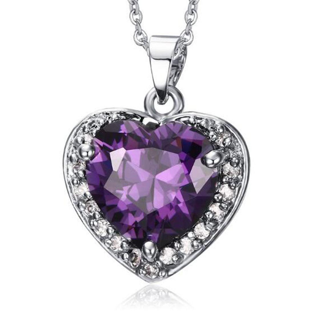 Collier pendentif en cristal violet pour femme Love Heart en argent sterling doré