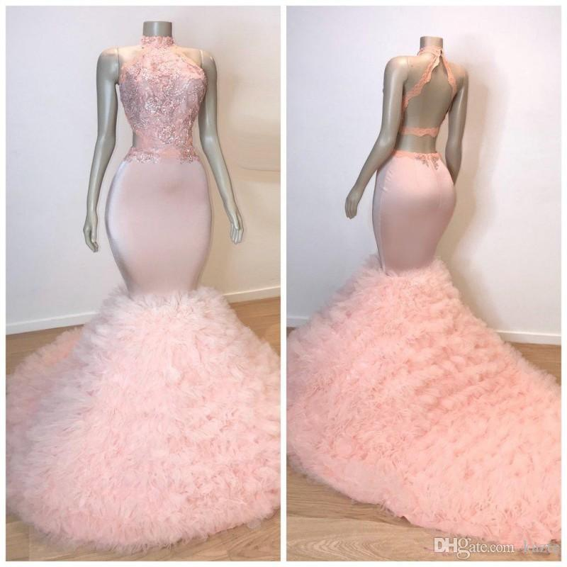 2019 розовые платья выпускного вечера длинные каскадные оборки Tirerd со спиной и высоким воротом русалка блестками развертки поезд вечерние платья