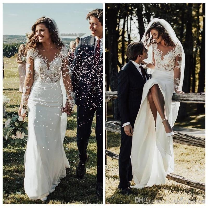 2020 Sexy Slim Bohemian Wedding Dresses Long Sleeves Lace Appliques Garden Bridal Gowns Customized Formal Long Robe De Mariee