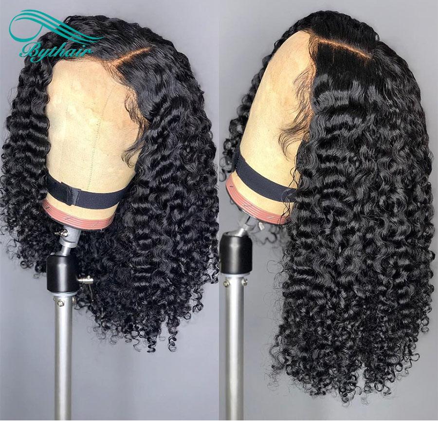 Bythair Top-Qualität brasilianische tief lockige Menschenhaar-Perücken brasilianische Curly Lace Front Perücken Glueless volle Spitze-Perücken Gebleichte Knoten