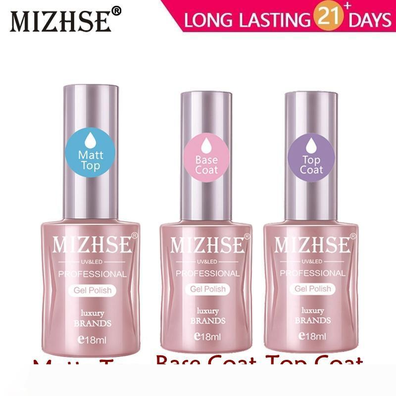 MIZHSE No Wipe Top Coat Base Matte Top gel trasparente Nail Polish LED UV Primer costruttore di unghia Gel Lacquer Vernice