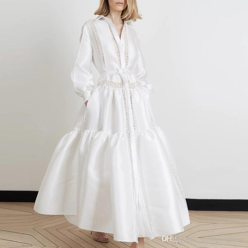 Vintage White Long Sleeve Women Casual Party Dress Patchwork Lapel Neck Lace Buttons With Pockets Women Work Dress Formal Wear 2764