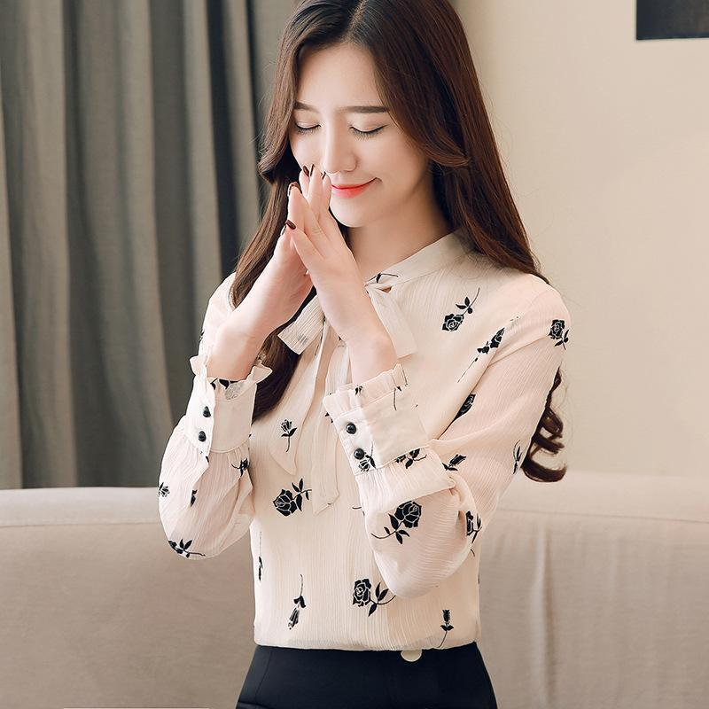 Цельный осень новый стиль шифон блузка Элегантный V-образным вырезом лук ленты для печати Рубашка Женщины с длинным рукавом Женские