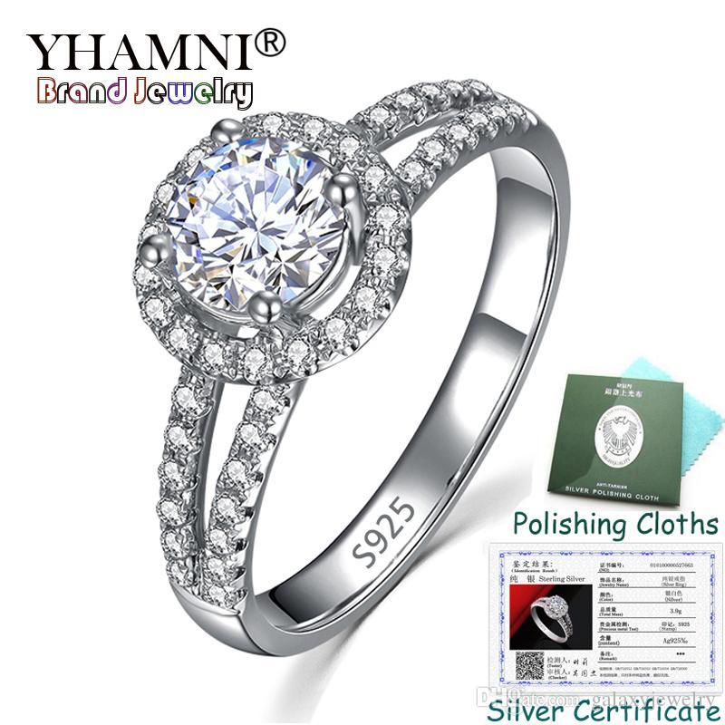 YHAMNI المرسلة شهادة! الأصلي 100٪ 925 الصلبة الفضة خاتم الخطوبة للنساء 8 ملليمتر 2ct مكعب الزركون خواتم الزفاف الأزياء والمجوهرات KPR510