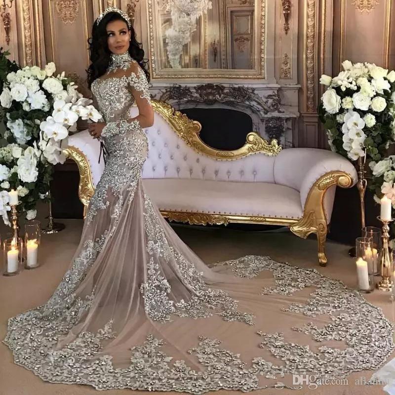 Árabe de 2020 vestidos de casamento de luxo Sheer mangas compridas alta Neck Lace Applique frisada Sereia vestidos de noiva Capela Train Dubai personalizado
