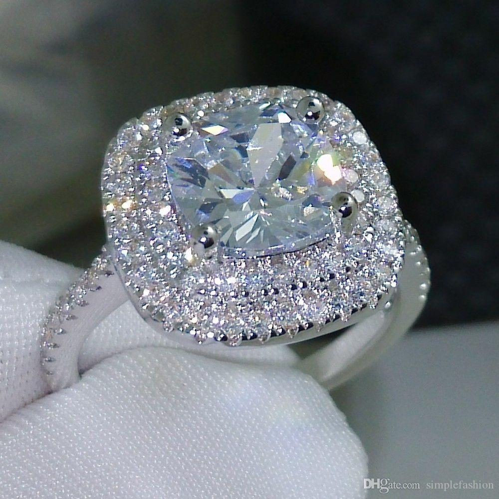 Vecalon 2016 modo dell'anello di nozze design fidanzamento per le donne 3CT anello di diamante simulato Cz argento 925 femminile Banda