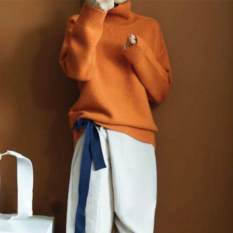 2019 nuevo invierno de alta calidad de doble engrosamiento suelta cuello alto suéter de cachemira suéter de cachemira suéter femenino