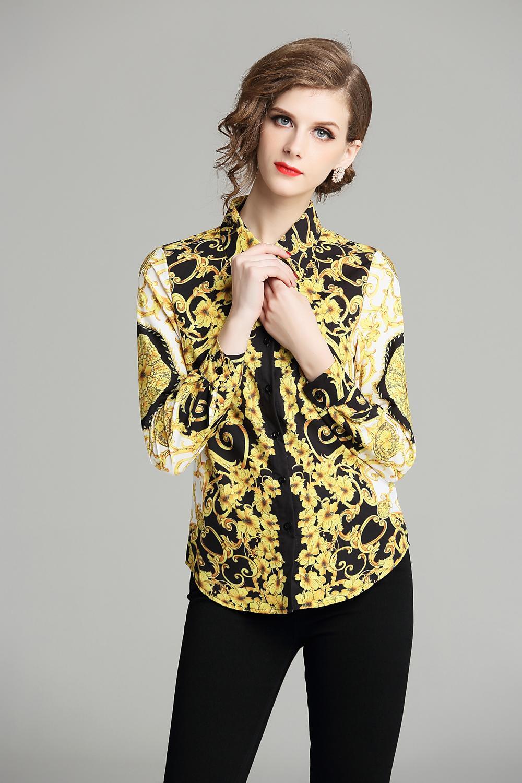 2020 İlkbahar Yaz Sonbahar Pist Vintage Baskı Yaka Düğmesi Ön Uzun Kollu Bayan Bayanlar Casual Büro İş Kıyafetleri OL Parti Üst Gömlek Bluz