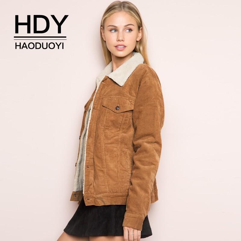 Chaqueta HDY Haoduoyi invierno mujer de manga larga Turn-down Collar pana Escudo Abrigo de mujer solo pecho Moda otoño outwear CJ191216