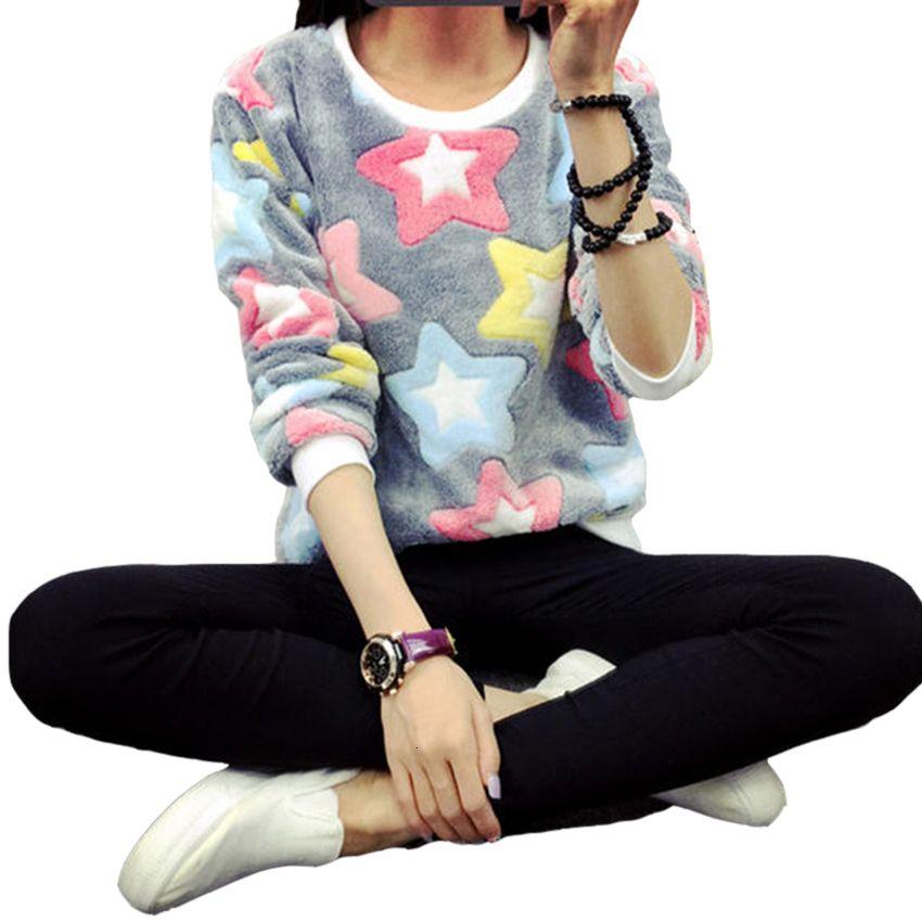 Woman Hoodie Womens Clothes Autumn Winter Harajuku Stars Pullover Sweatshirts Long Sleeve Moletom Feminino Flannel Sweatshirt