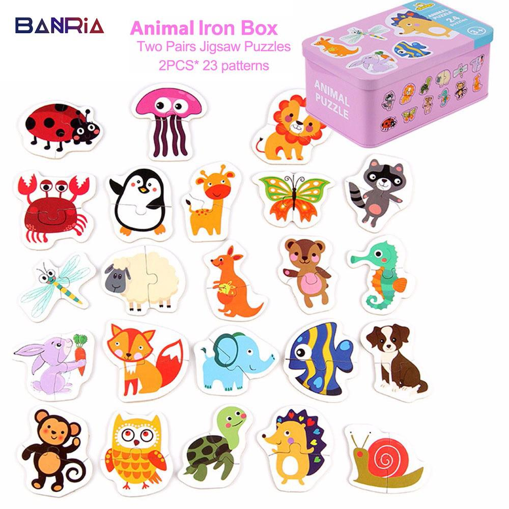 Kid Baby Cognition Wooden Puzzle Toys Baby Puzzles for Kids Educational Animal Fruit Cognition Learning Christmas Gifts Y200317