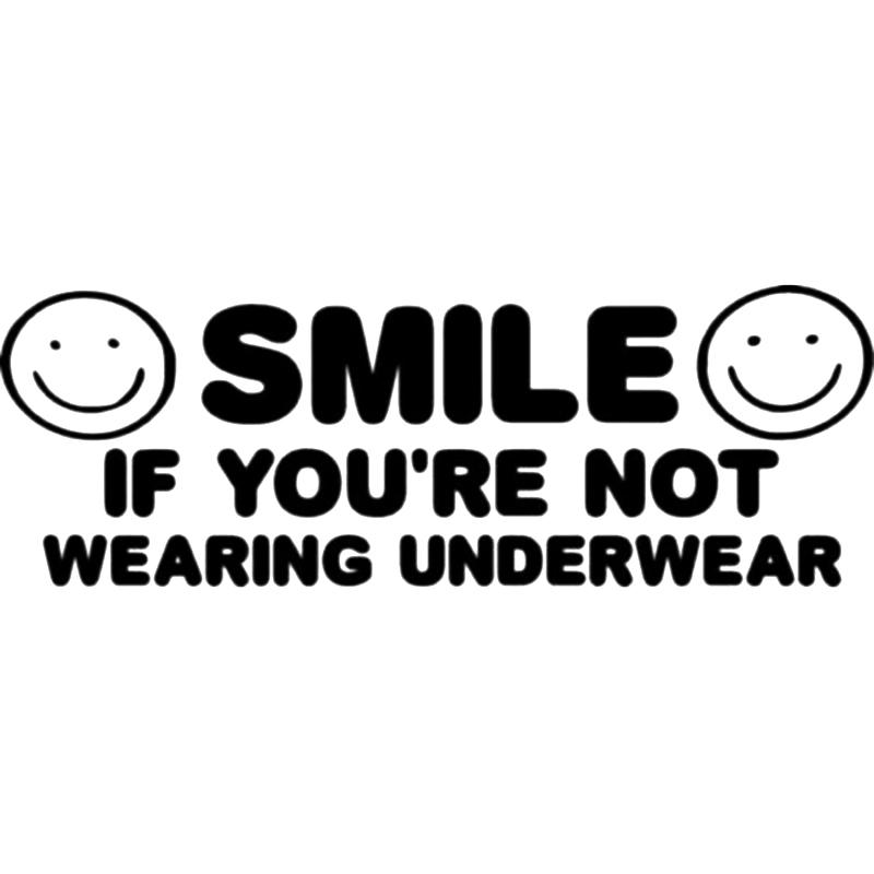 15*5.2cm Smile If You're Not Wearing Underwear Funny Decal Sticker Funny Personality Stickers Car Accessories Car Sticker