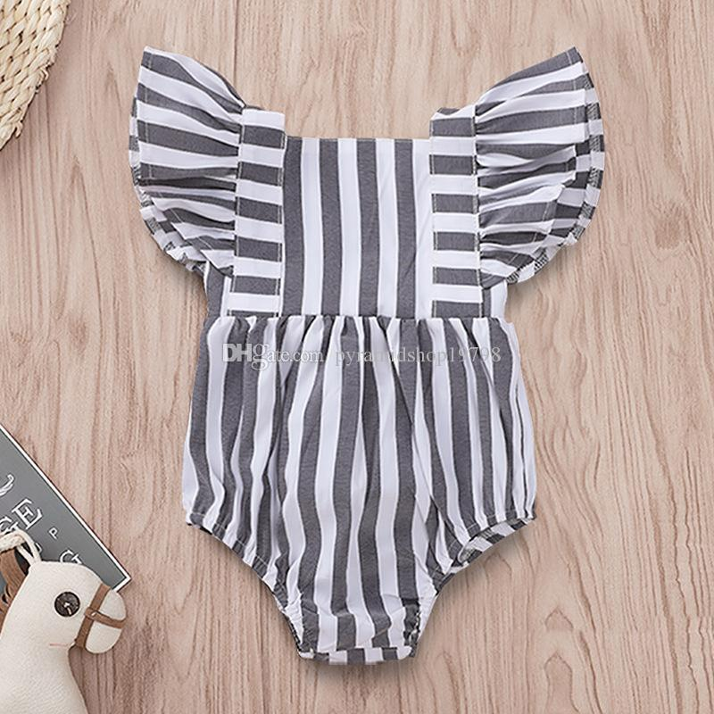 Baby Girl Striped Jumpsuit Newborn Summer falbala short sleeve Romper Infant Clothes 4size 68-86 for 3-18M