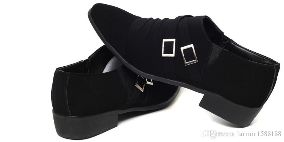 أحذية 2019 للرجال في الربيع والخريف مع نمط جديد منخفض كعب نهاية مدببة الجلد المدبوغ @ 2127