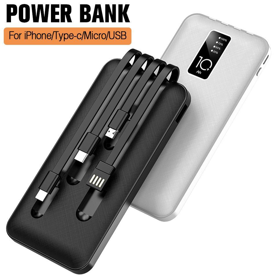 YM-277 Portable Charger 4 Linea di carica Tipo C-Adapter grande capacità dello schermo di litio LED batteria Digitial Powerbank per smartphone in scatola