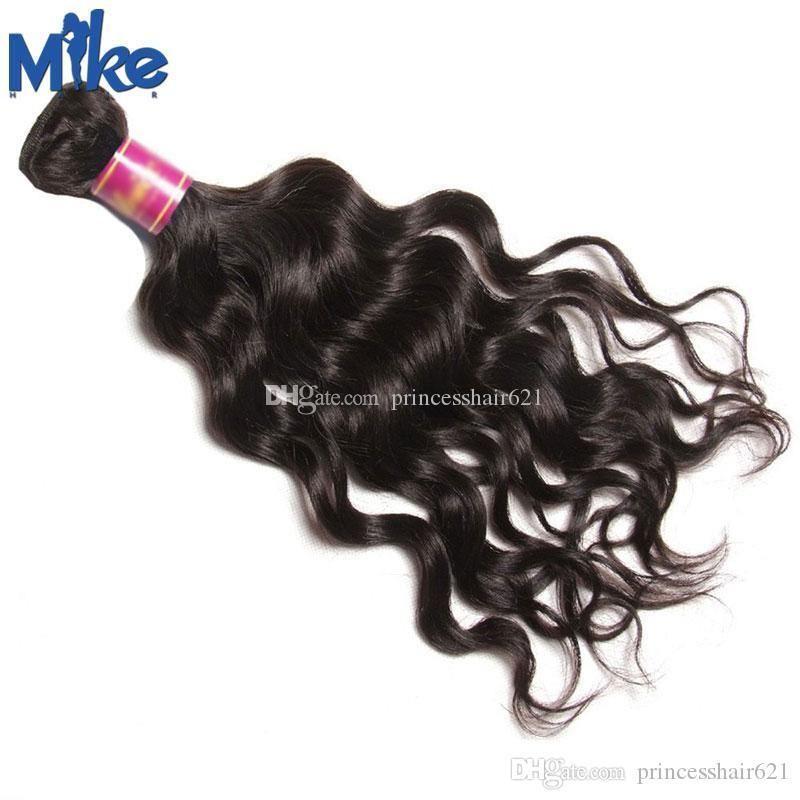 MikeHAIR cheveux brésilienne Natural Wave Trame originale non transformé cheveux humains Weave 1 Piece 8-30Inch Pérou Indien de Malaisie Extensions de cheveux