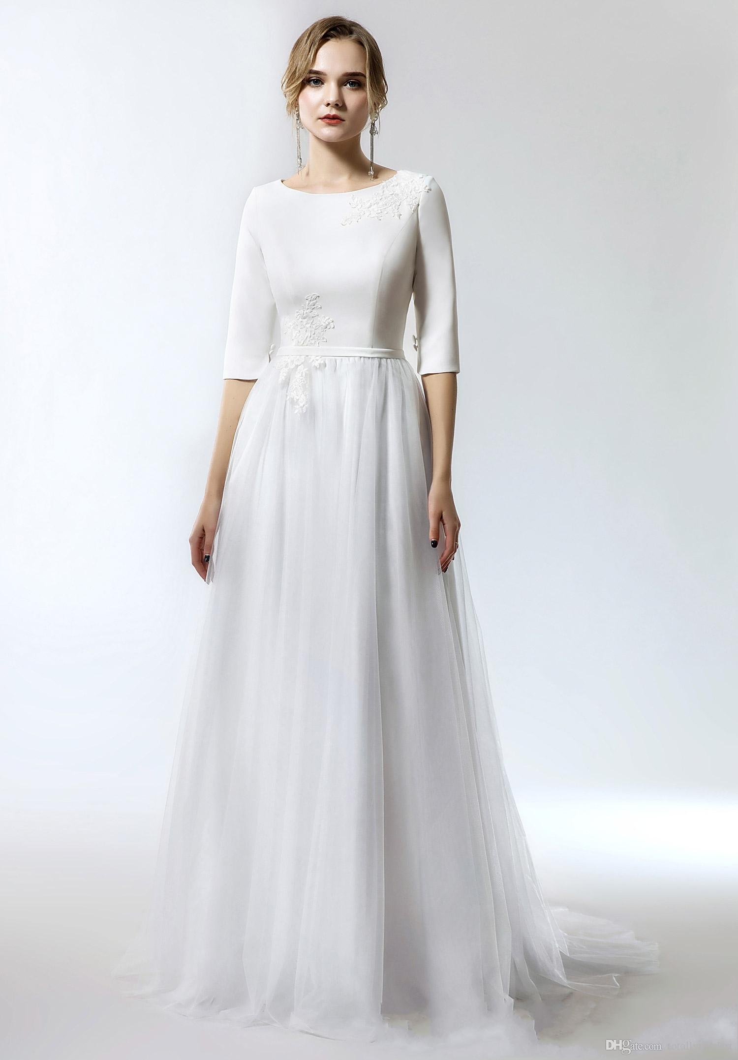 discount 2019 new simple a line long modest wedding dress with 1/2 sleeves  o neck tulle skirt informal modest bridal gowns new arrival simple cheap