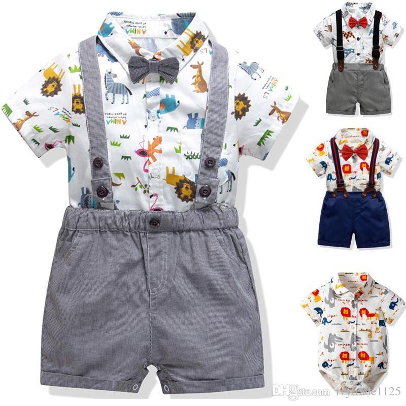 Gentleman Boy Kids clothing Baby summer sets Animal Print turn down collar short sleeve Romper + short sets summer boy clothing sets