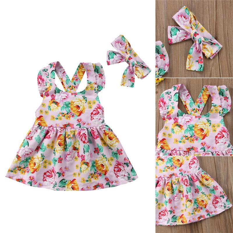 Nouveau-né Enfants de bébé à volants sans manches col rond de vêtements imprimé floral robes Bow Bandeau du coton enfant en bas âge Outfit