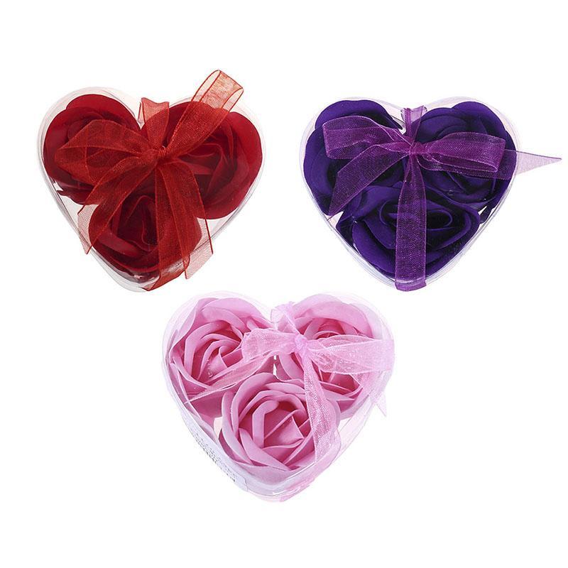 Aroma Coeur Rose Savon Fleurs Bain Savon Corps Romantique Souvenirs Cadeaux De Saint Valentin Faveur De Mariage Parti Décoration 3 Pcs / Boîte