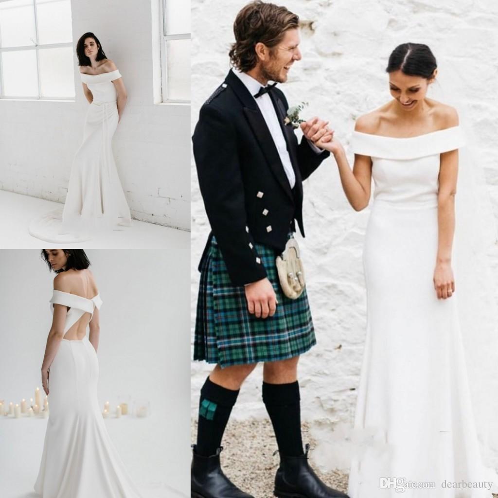 섹시한 심플한 디자인 캡 슬리브 공주 웨딩 드레스 크로스로 돌아 가기 스트레치 새틴 신부 웨딩 드레스 가운 드 Mariee 비치 신부 드레스