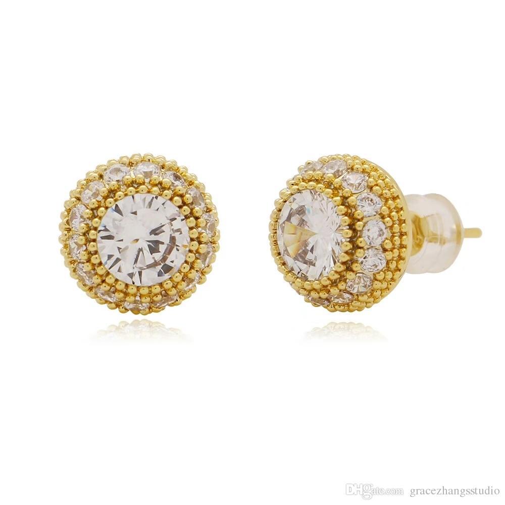 الهيب هوب كامل الماس ترصيع الأذن للرجال جولة حجر الراين أقراط الذهب الحقيقي مطلي النحاس الماس والمجوهرات الشحن مجانا