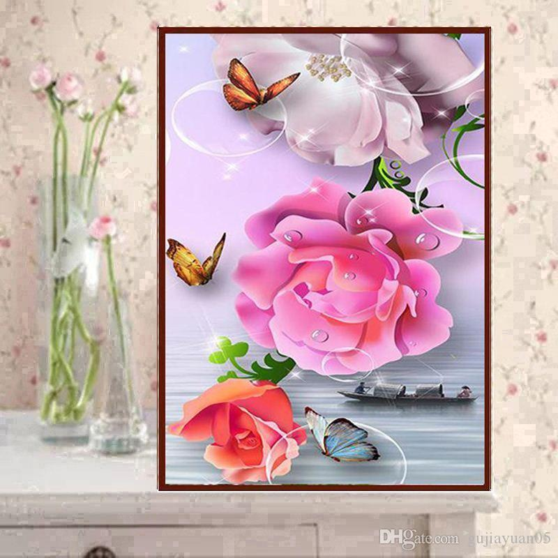 YGS-548 DIY 5D Partial Diamond Embroider The flower Round Diamond Painting Cross Stitch Kits Diamond Mosaic Home Decoration