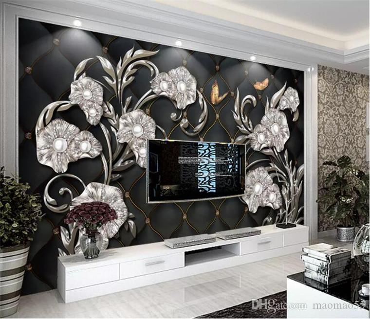 Costumbre fondo de pantalla 3d mural fotográfico negro estéreo 3D flor joyería paquete blando de TV de la pared de fondo Fondo Europeo de TV estilo del papel pintado 3d
