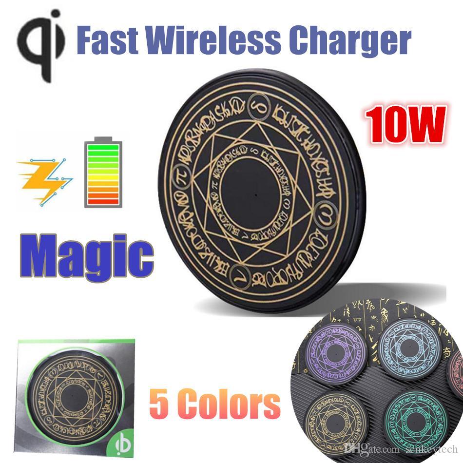 1PCS New Qi Carregador sem fio mágico Universale 10W Carregador Rápido de carregamento do telefone Pad com Retail Box