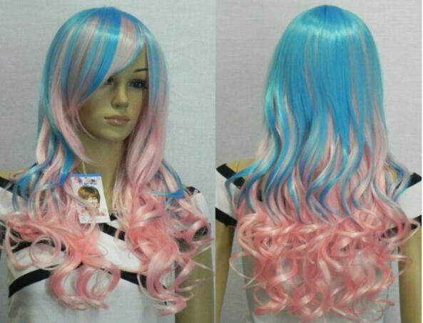 무료 배송 + 패션 핑크 + 스카이 블루 믹스 론 g 여성 코스프레 가발