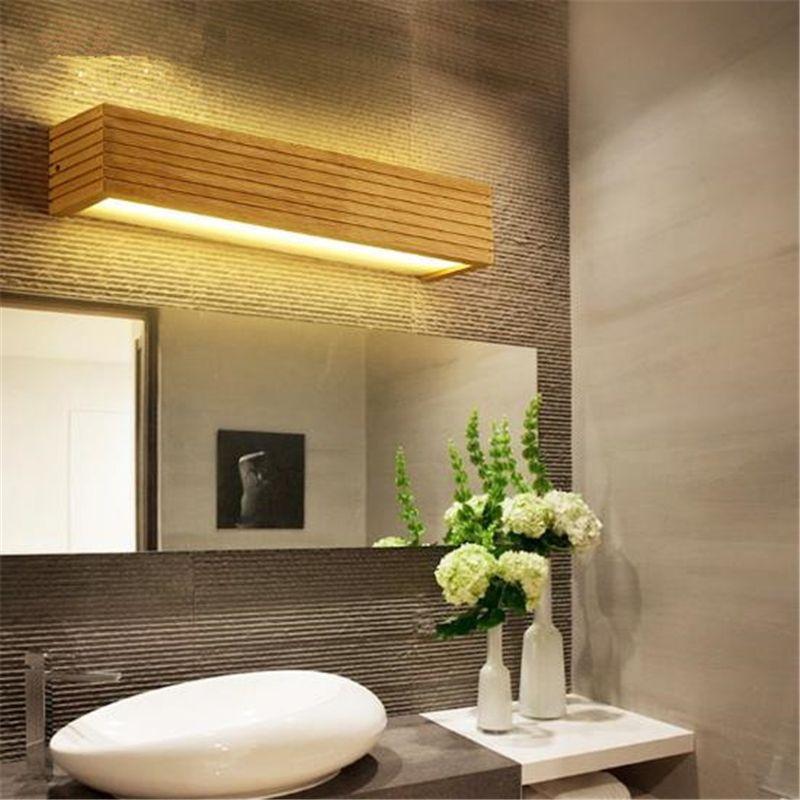 Nordic moderne einfache LED Massivholz-Wandleuchte Badezimmer Spiegelleuchten Scheinwerfer Moistureproof Dresser-Lampe Freies Verschiffen