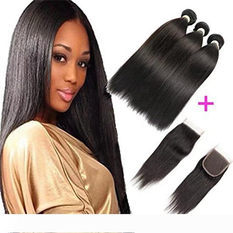 8A pas cher Brésilien Virgin cheveux 4x4 droit dentelle fermeture prolongements de cheveux humains Weave en gros 3 Bundles avec lacets de fermeture