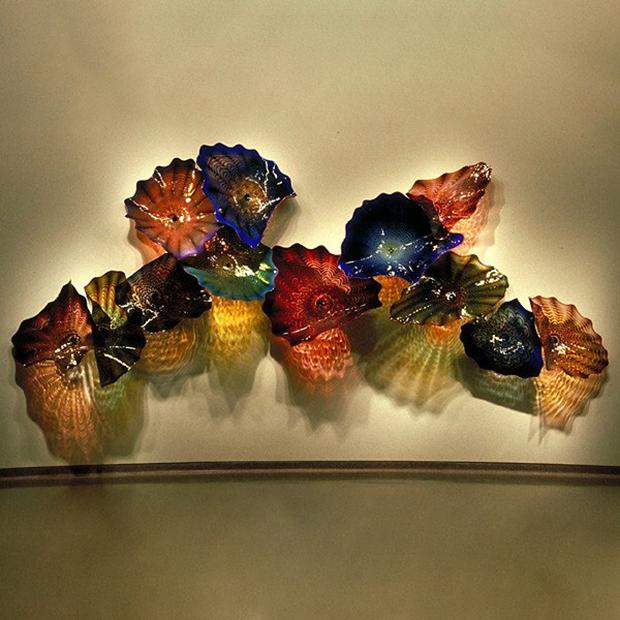 Роскошные легкие большие лампы Murano Flower Neet Decorative Wall Arts Рука врушите стеклянные плиты Турции Дизайн цветные светодиодные установленные бонду